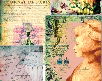 Marie Antoinette  French  Paris Journal  Digital Journal Kit  French paper  junk journal vintage  collage  ephemera pack