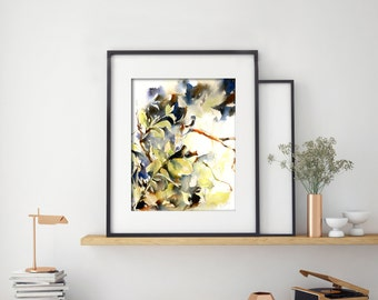 Green Watercolor Print, Leaves Painting, Abstract Modern Watercolor Art, Home Decor
