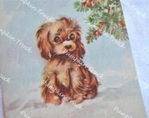 Vintage Christmas Card  - Puppy in Snow - Unused Rust Craft Marjorie Cooper