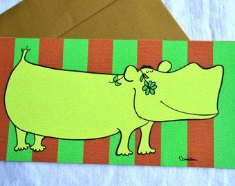 Vintage Greeting Card  - Mod Love Hippo Mid Century - Velvetone