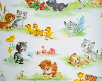 Vintage Wrapping Paper - Kittens in the Flower Garden - Unused Sheet Norcross