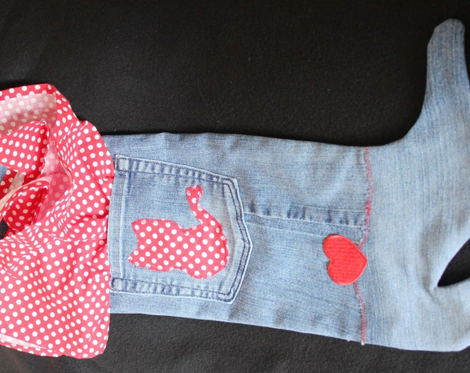 HALF PRICE ** Cat Lover Upcycled Blue Jean Christmas Stocking. Red Dot Cat Profile. Purr-fect Gift for Cat Lover! Holiday Gift Bag