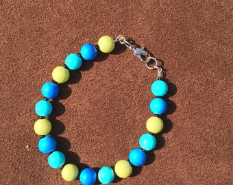 Blue and Yellow beaded Bracelet