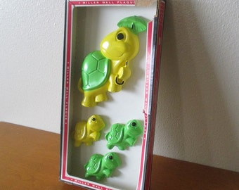 NOS vintage, 1970's Miller Wall Plaque chalkware turtles in lime green and lemon yellow