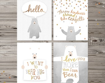 Bear Nursery Wall Art, Set of 4 prints, bear nursery art, woodland nursery, bear wall art, glitter nursery art, neutral nursery art