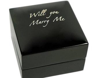Luxury personalized engagement ring box jewellery display case for wedding walnut black mahagany  customised gift australia