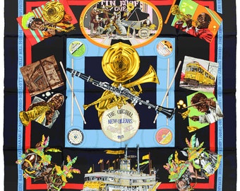 """HERMES SCARF Silk """"New Orleans Creole Jazz"""" by Loic Dubigeon Vintage 90cm Carre 100% Auth"""