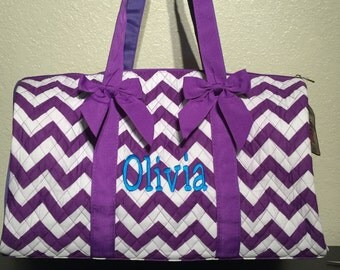 Chevron Print Monogrammed Duffle Bag Purple and White