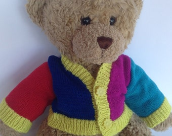 14 Inch Bear Knitted Sweater - Kintted Cardigan for Toy Bears like Teddy Bear. Cheerful Knitted Sweater for 14 in Bears! Ready To Ship!!