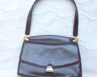 Mappin and Webb brown leather 1950's 1960's handbag