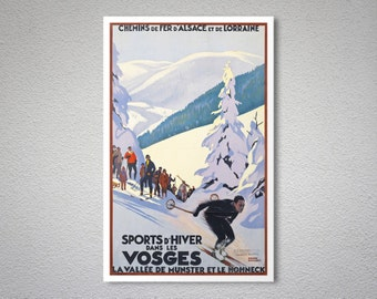 Sports d'Hiver dans Les Vosges Vintage Travel Poster - Art Print - Poster Print, Sticker or Canvas Print