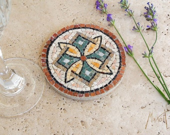 Stone mosaic Coaster, handmade original Atrwork
