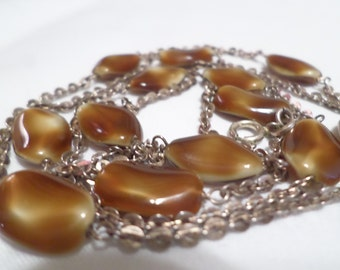 Vintage 800 Silver Glass Tiger's Eye Long Necklace  DL#202
