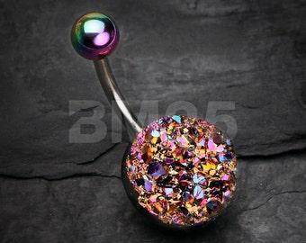 Rainbow Druzy Raw Crystal Belly Button Ring