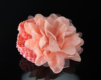 Baby Infant Elastic Headband with Big Coral/Grey Color Flower