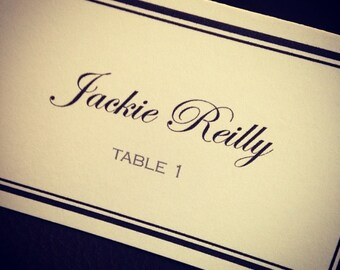 Classic, Tented Place Cards (Black & White) FULLY CUSTOMIZABLE!