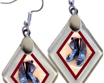 """Earrings """"Western Boots"""" from rescued, repurposed window glass~Lightening landfills one tiny glass diamond at a time!"""