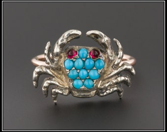 Turquoise Crab Ring | 10k Gold & Silver Crab Ring | Turquoise Ring | Vintage Pin Conversion Ring