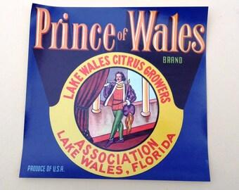 Original Vintage Crate Label/ Orange Crate Label/ Prince of Wales Orange Citrus Fruit Wood 30s Crate Label Lake Wales, Florida