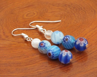 Blue earrings, flower earrings, blue flower earrings, beaded earrings, blue beaded earrings, spring earrings