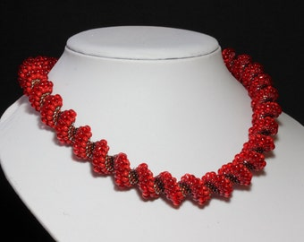 Red Cellini Spiral Necklace