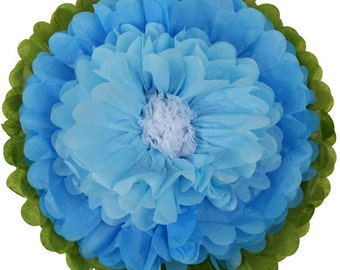 """Tissue Paper Flower 10"""" Powder Blue Baby Blue White - Item Number:TPF100022 - Just Artifacts - Paper Flower for Parties and Events"""
