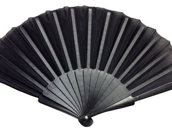 "Decorative Folding Silk Hand Fan Black 9"" -Item# : DFS090078 (Wedding Fans, Bridesmaid Gifts, Spanish Fan, Church Hand Fans, Bride Fan)"