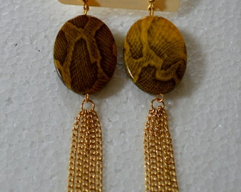 Golden Olive Green Dangle Earrings