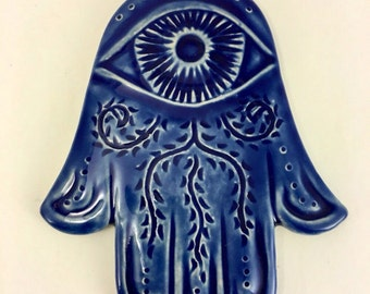 Blue Hamsa Wall Hanging, Chanukkah gift, evil eye protection, Judaica, Blue