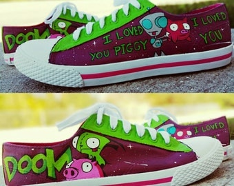 Invader Zim Inspired Hand Painted shoes