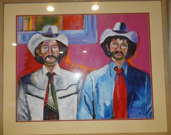 Vintage City Cowboys Impressionist Painting