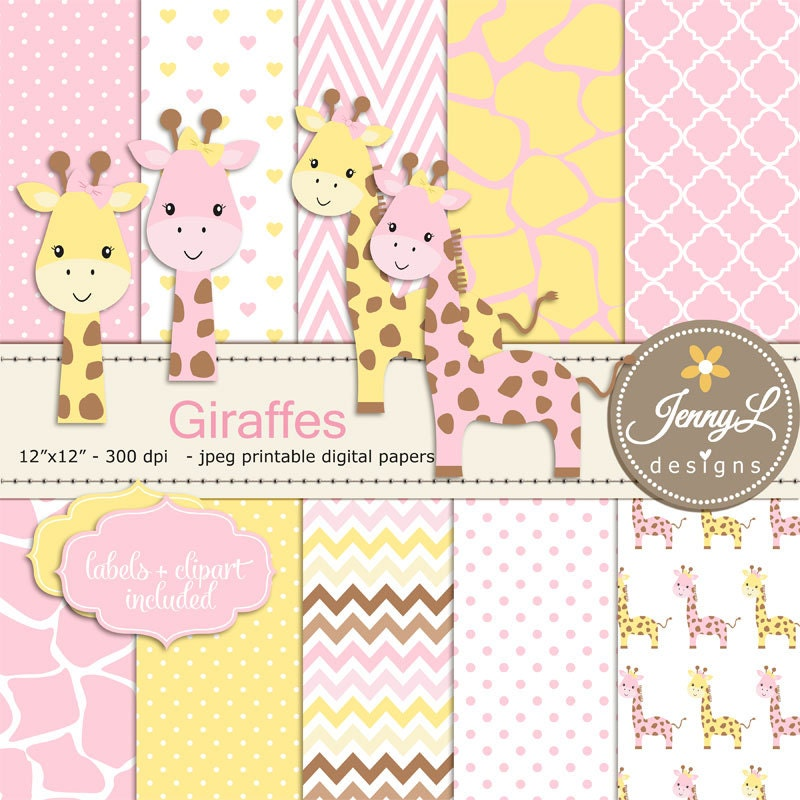 pink and yellow giraffe baby shower digital papers and