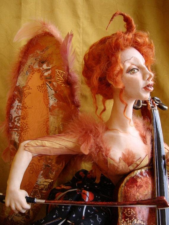 Fancy doll, art interior doll LADY ELF playing cello, ooak figurine