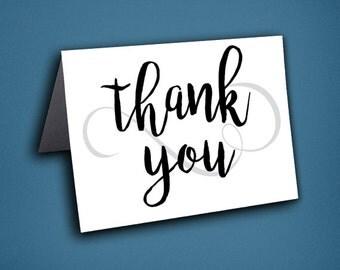 Calligraphy Thank You Cards • Thanks • Thank You Card • Unique Thank You Card • Calligraphy • Black and White Thank you • Fun Thank you