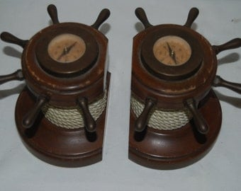 Early Vintage Nautical Helm Ship's Wheel Bookends Wood,Brass, Rope, Compass