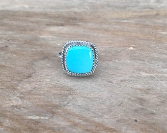 Sleeping Beauty Turquoise Ring, Geometric Sterling Silver Turquoise Gemstone December Birthstone Ring