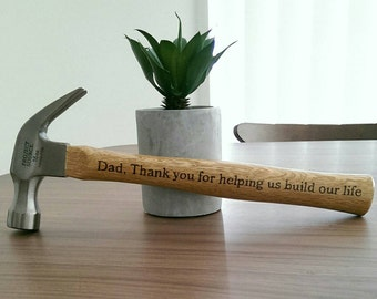 Hand Burnt Personalised hammer - Fathers Day - Father of the bride gift - No stickers