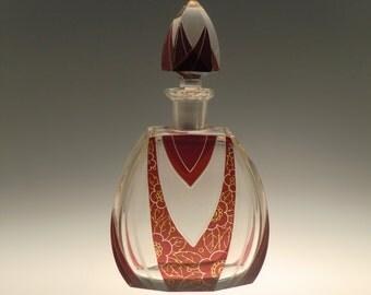 Czech Bohemian Art Deco Glass Carafe by Karl Palda