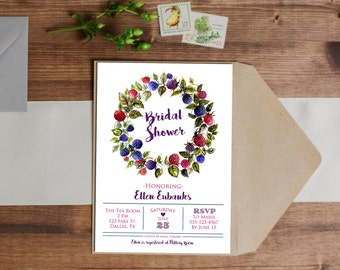 SALE 25% OFF Watercolor Berry Invitation - Birthday - Wedding - Baby Shower - Bridal Shower