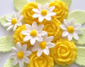 WHITE DAISIES LEMON roses edible sugar paste flowers cupcake toppers decorations