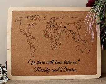 Push Pin Map Etsy - Us travel map on cork board