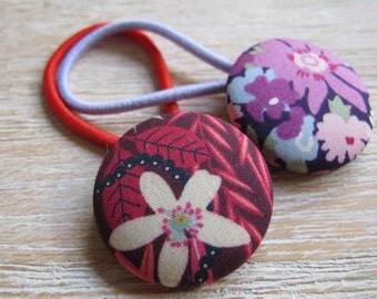 Liberty Fabric Covered Button Hair Elastic – Flowers (Set of 2)