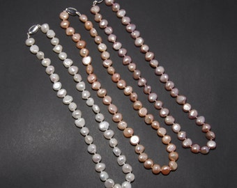 Currently, necklace, Pearl necklace, 925 Silver