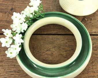 Vintage green and cream ceramic multiway ring vase