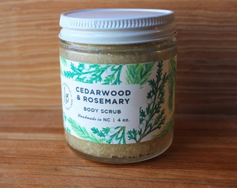 Cedarwood & Rosemary Body Scrub - 4 oz. Exfoliating and moisturizing organic sugar body scrub. 100% natural