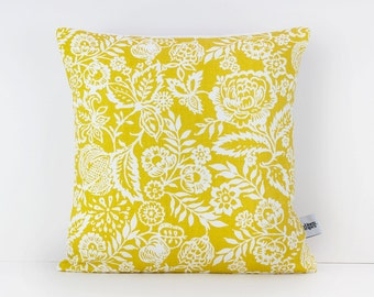 Mustard throw pillow - Mustard floral pillow cover - Flower pillow - Decorative Cushion Case - Linen Pillow cover - Linen home decor