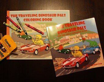 The Traveling Dinosaur Pals Children's Book and Coloring Book Set