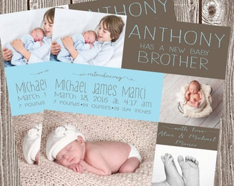 birth announcement, sibling, baby boy, photo baby announcement, blue digital print, square announcement