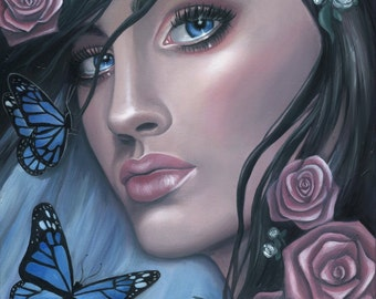 Portrait Oil Painting - Blue Butterflies - Fine Art Print by Emily Luella