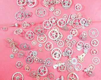 108  Vintage Steampunk Watch Gears Wheels Parts Altered Art.#-7